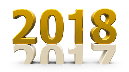 turn of the year: 2017-2018 change represents the new year 2018, three-dimensional rendering, 3D illustration Stock Photo