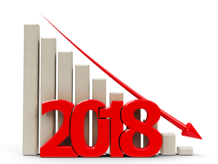 regress: Red business graph with red arrow down, represents decrease in the year 2018, three-dimensional rendering, 3D illustration Stock Photo