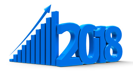 Blue business graph with arrow up and 2018 symbol, represents growth in the new year 2018, three-dimensional rendering, 3D illustration