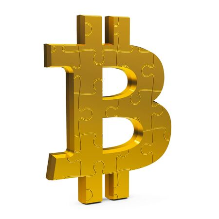 Golden puzzle Bitcoin sign isolated on white background, three-dimensional rendering, 3D illustration