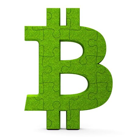 Green puzzle Bitcoin sign isolated on white background, three-dimensional rendering, 3D illustration