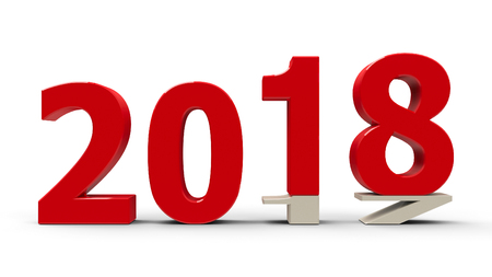 newyear: 2017-2018 change represents the new year 2018, three-dimensional rendering, 3D illustration Stock Photo