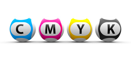 Lottery balls on a white table represents CMYK concept, three-dimensional rendering, 3D illustration