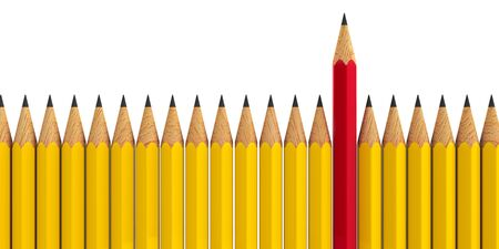 distinct: Red pencil among yellow pencils - conceptual image of the individuality, three-dimensional rendering, 3D illustration Stock Photo