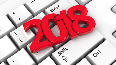 2018 icon on the computer keyboard background represents the new year 2018, three-dimensional rendering, 3D illustration
