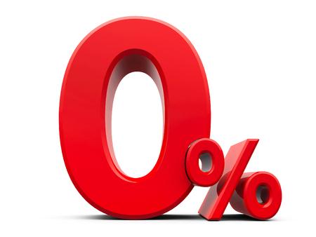 Muestra roja del cero por ciento aislado en el fondo blanco, representación tridimensional, ilustración 3D Foto de archivo - 83530866