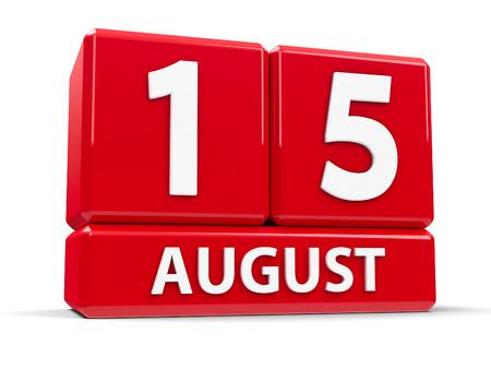 Rode blokjes - De vijftiende augustus - op een witte tafel - Maria-Tenhemelopneming en Onafhankelijkheidsdag in India, driedimensionale weergave, 3D illustratie Stockfoto
