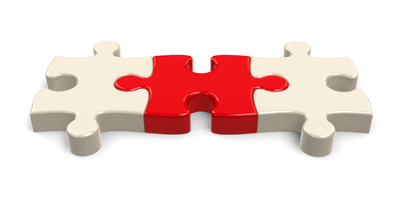 Three jigsaw pieces with red piece in the center, concept of leadership or cohesion, three-dimensional rendering, 3D illustration