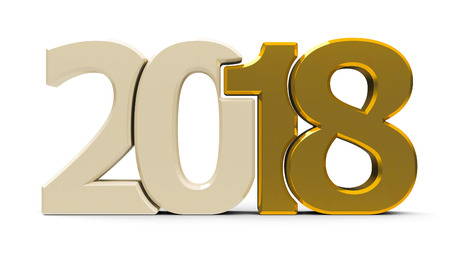 Gold 2018 symbol, icon or button isolated on white background, represents the new year 2018, three-dimensional rendering, 3D illustration
