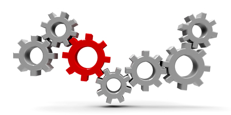 Many gears with red gear - concept of team cooperation or leadership, three-dimensional rendering, 3D illustration Stok Fotoğraf