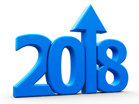 Blue 2018 with arrow up isolated on white background, represents growth in the new year 2018, three-dimensional rendering, 3D illustration