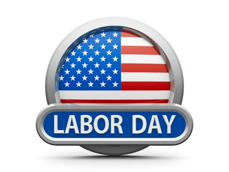 Emblem, icon or button with american flag represents Labor Day in USA, isolated on white background, three-dimensional rendering, 3D illustration