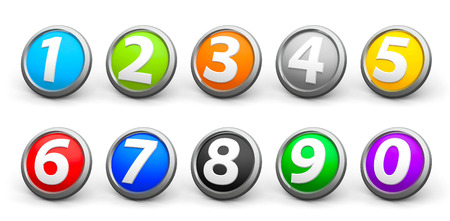 Color icons numbers set isolated on white background, three-dimensional rendering, 3D illustration