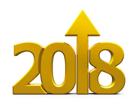 Gold 2018 with arrow up isolated on white background, represents growth in the new year 2018, three-dimensional rendering, 3D illustration
