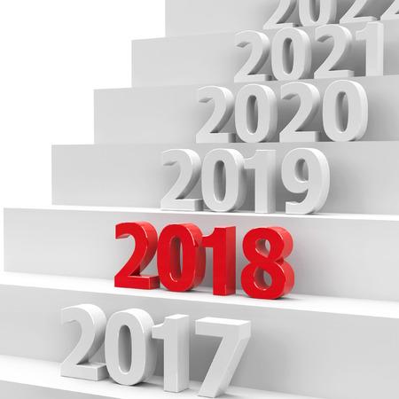 2018 future on podium represents the new year 2018, three-dimensional rendering, 3D illustration Reklamní fotografie