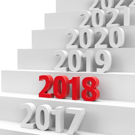 2018 future on podium represents the new year 2018, three-dimensional rendering, 3D illustration Stock Photo