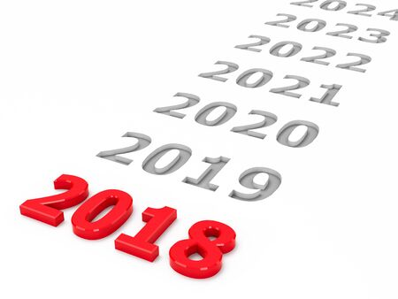 2018 future represents the 2018 year, three-dimensional rendering, 3D illustration Stock Photo