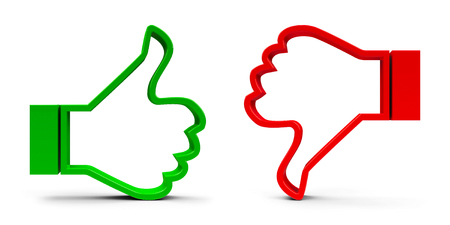 Thumb up & thumb down icons isolated on white background - represents customer satisfaction and feedback, three-dimensional rendering, 3D illustration