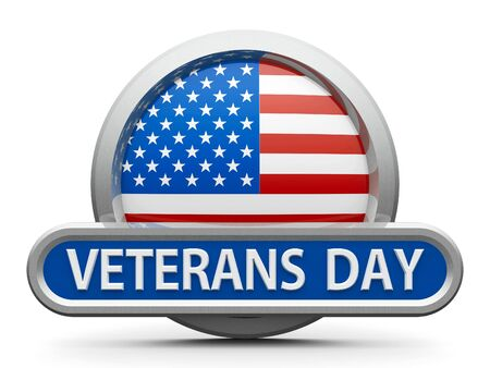 Emblem, icon or button with american flag represents Veterans Day in USA, isolated on white background, three-dimensional rendering, 3D illustration