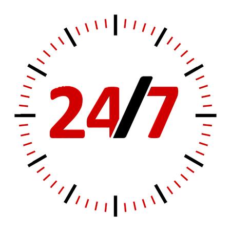 白い背景の24時間は、247 サービス、3次元レンダリング、3D イラストレーションを表します
