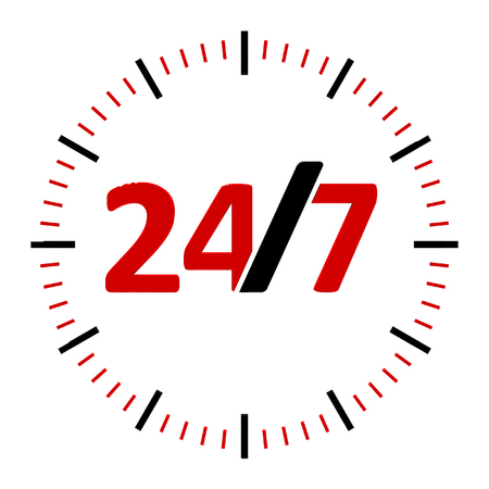 Round-the-clock on white background represents 247 service, three-dimensional rendering, 3D illustration