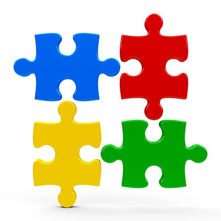 Abstract puzzle pieces isolated on a white background - represents teamwork concept, three-dimensional rendering, 3D illustration
