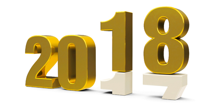 Gold 2017-2018 change represents the new year 2018, three-dimensional rendering, 3D illustration Stock Photo