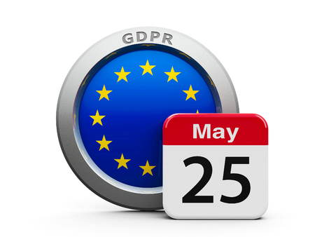 Emblem of European Union with calendar button - The Twenty Fifth of May - represents the Implementation date 2018 of GDPR - General Data Protection Regulation, three-dimensional rendering, 3D illustration
