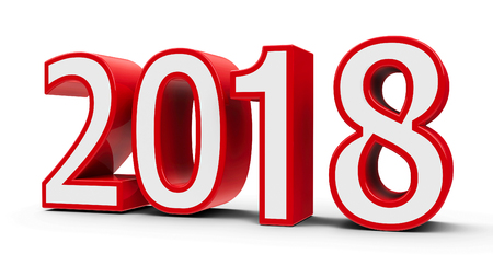 Red and white 2018 symbol, icon or button isolated on white background, represents the new year 2018, three-dimensional rendering, 3D illustration