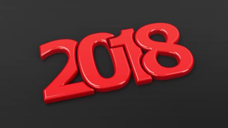 Red 2018 symbol on black background, represents the new year 2018, three-dimensional rendering, 3D illustration Stock Photo