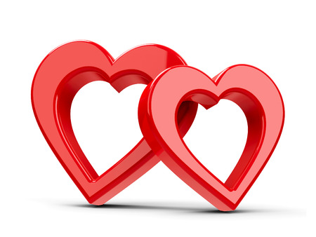 Two red hearts represent love and Happy Valentines day, three-dimensional rendering, 3D illustration