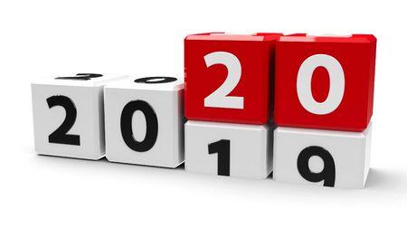 白いテーブルの上に2019-2020の変更を持つ白い立方体は、新しい2020年、3次元レンダリング、3Dイラストを表します