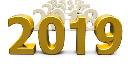Gold 2019 come represents the new year 2019, three-dimensional rendering, 3D illustration Stock Photo