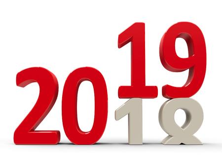 2018-2019年の変更は、新しい年2019、3次元レンダリング、3Dイラストを表します 写真素材