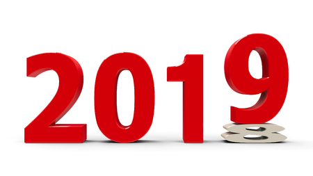 2018-2019 change represents the new year 2019, three-dimensional rendering, 3D illustration Reklamní fotografie - 94246583