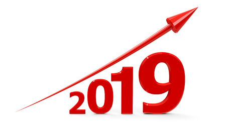 Red arrow up represents the growth in 2019 year, three-dimensional rendering, 3D illustration Reklamní fotografie