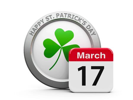 Emblem of trefoil with calendar button - The Seventeenth of March - represents Happy Saint Patricks Day, three-dimensional rendering, 3D illustration