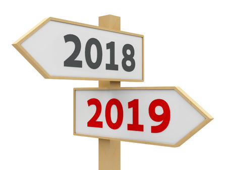 Road sign with 2018-2019 change on white background represents the new 2019 year, three-dimensional rendering, 3D illustration Reklamní fotografie