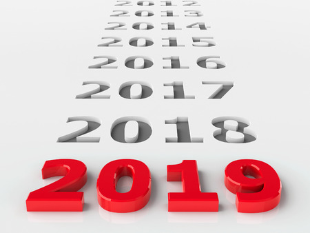 2019 past represents the new year 2019, three-dimensional rendering, 3D illustration