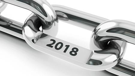 Chain with link with text - 2018 - represents the new year 2018, three-dimensional rendering, 3D illustration Reklamní fotografie - 96291042