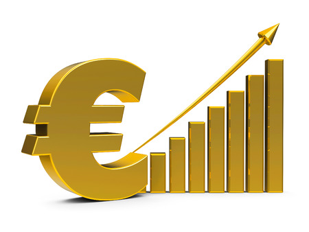 Gold business graph with arrow up and euro sign represents the growth of euro rate, three-dimensional rendering, 3D illustration