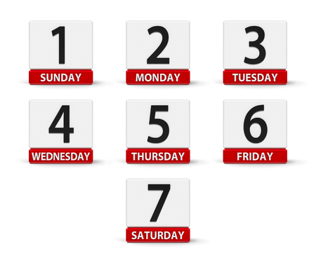 Calendar web buttons - Days of the week, three-dimensional rendering, 3D illustration