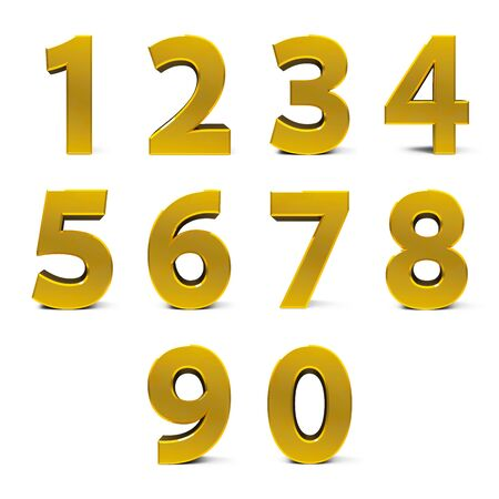 Gold numbers set from 0 to 9 isolated on white background, three-dimensional rendering, 3D illustration Stock Photo