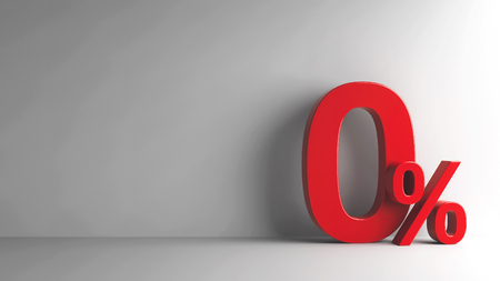 Red Zero Percent sign on grey background, three-dimensional rendering, 3D illustration Banque d'images