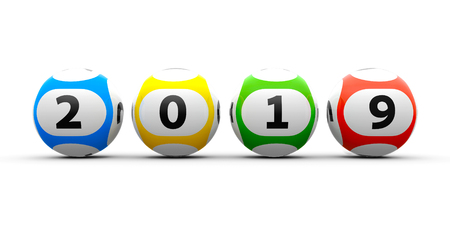 Lottery balls on a white table represents the new 2019 year, three-dimensional rendering, 3D illustration