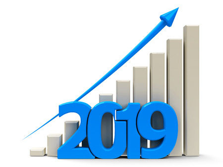 Blue business graph with blue arrow up, represents growth in the year 2019, three-dimensional rendering, 3D illustration