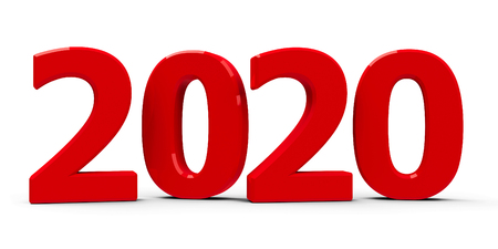 Red 2020 symbol, icon or button isolated on white background, represents the new year 2020, three-dimensional rendering, 3D illustration