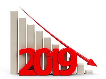 Il grafico aziendale rosso con la freccia rossa verso il basso rappresenta la diminuzione dell'anno 2019, il rendering tridimensionale, l'illustrazione 3D