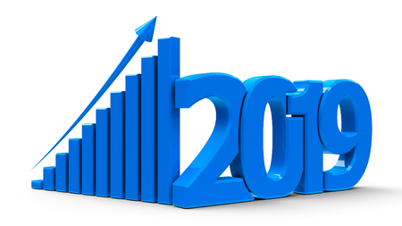 Blue business graph with arrow up and 2019 symbol, represents growth in the new year 2019, three-dimensional rendering, 3D illustration Reklamní fotografie