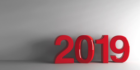 Red 2019 on grey background, represents the new year 2019, three-dimensional rendering, 3D illustration Stock Photo